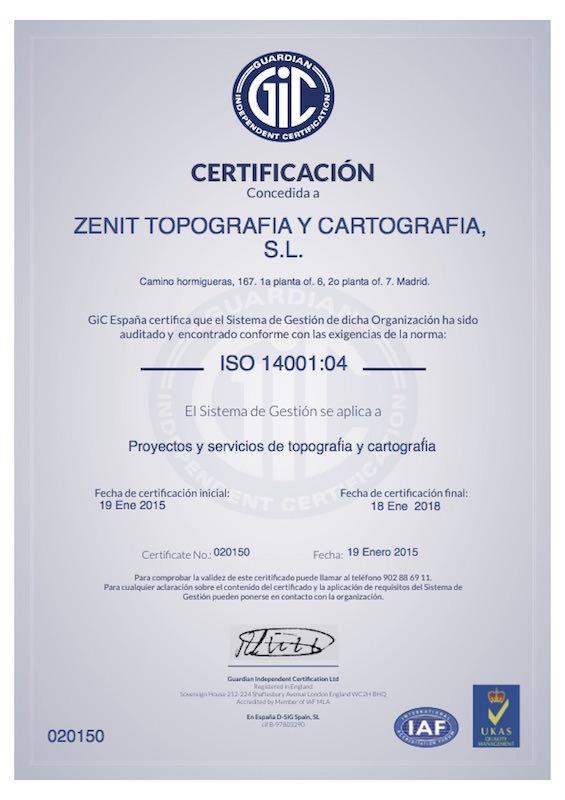 Certificado de calidad ISO14001