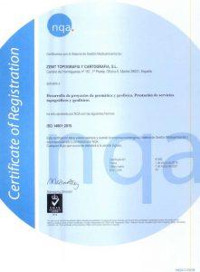Certificado de calidad medioambiental ISO14001